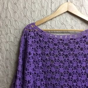 Vtg 80s oversize crochet sweater XL/XXL